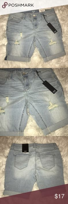 Denim Bermuda shorts Brand new Bermuda shorts. Slightly Destroyed which is very trendy this season. New with tags!!! Say petite but fit like a regular 2. Used American Eagle for description. Brand is Ana. American Eagle Outfitters Shorts Bermudas