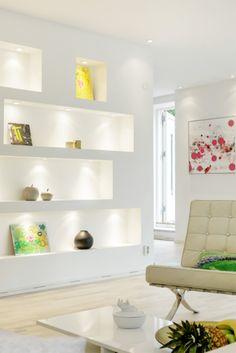 inwall shelves - Uber stylish and highly functional Swedish villa Niche Design, Design Salon, Deco Design, Recessed Shelves, Built In Shelves, White Shelves, Shelving, Home Living Room, Living Room Decor