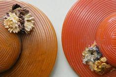 vintage bakelite hat pins with straw flowers