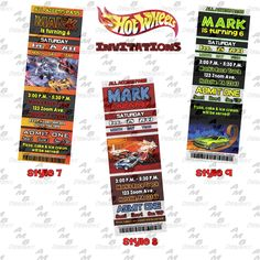 """Hot Wheels ticket Invitations & matching Party Supplies available .This invitation in the Hot Wheels theme will """"WOW"""" your party guests. Customized just for you; party supplies to match are available. 20 different design styles to choose from. Custom Party Invitations, Ticket Invitation, Hot Wheels Party, Admit One, Party Guests, Boy Birthday, Party Supplies, Design Styles"""
