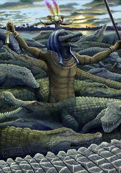 ArtStation - Sobek - God of the Nile, Mark Abramowsky Ancient Egypt Art, Ancient Aliens, Ancient Greece, Ancient History, Ancient Artifacts, Egyptian Mythology, Egyptian Goddess, Egyptian Art, European History