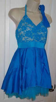 99cb5d94b2 Kelle Dance Costume Ballet Jazz Dress Bright Blue Lace Sz Medium MA Adult  EUC CS