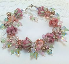 "Create the softness of Spring with the ""Rose of Sharon"" Swarovski Spring Bracelet Design. Featured designer Sheri Cleary"