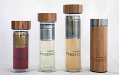 Glass, bamboo and stainless steel drink bottles; Sip tea, coffee and fruit infusions. Made by Fressko Reusable Coffee Cup, Fruit Water, Infused Water Bottle, Double Glass, Detox Recipes, Drink Bottles, Flask, Coffee Cups, Smoothies