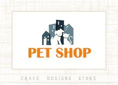 Pet Shop Logo Design Animals Logo Cat and Dog by CraveDesignsStore