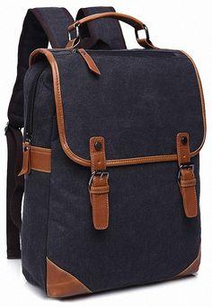 AmazonSmile: Kenox Vintage College Backpack School Bookbag Canvas Laptop Backpack (Black): Clothing