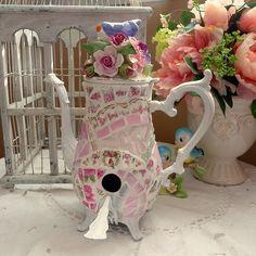 Mosaic Chick Design~Mosaic Teapot Birdhouse-SOLD https://www.facebook.com/pages/Mosaic-Chick-Design/216734331705852?ref=hl