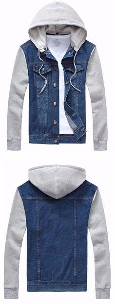 Panel Design Denim Jacket with Detachable Hood