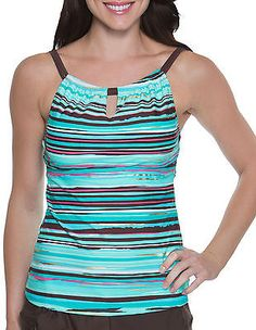 ca538aa380 Tops and Blouses 63858: Beach Diva Womens Sunset Stripe Tankini Top -> BUY  IT