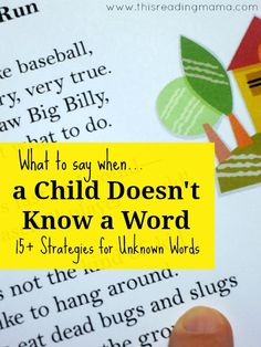 15 Reading Strategies for Unknown Words - what to do when a child doesn't know a word. Great tips for parents or teachers. Free printable too. Kindergarten Reading, Kids Reading, Teaching Reading, Reading Aloud, Guided Reading, Preschool Kindergarten, Reading Intervention Classroom, Word Reading, Teaching Phonics
