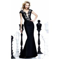 Black V Neck Appliques Long Evening Dresses Mermaid Sheer Back Plus Size  Prom Gown 2017 vestidos de festa Vestido Longo ED027-in Evening Dresses  from ... 84a909b788fc