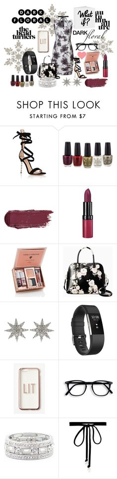 """Dark Floral"" by cutiepiesparkles on Polyvore featuring Gianvito Rossi, Rimmel, Kate Spade, Bee Goddess, Fitbit, Missguided, Sole Society and Joomi Lim"