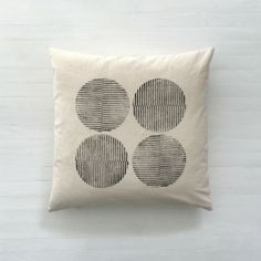 Circle Print Cushion Cover. All Hereware fabrics are designed and printed by hand in our studio in Toronto, Canada.