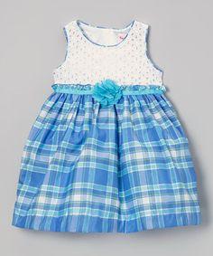 White & Blue Plaid Dress - Infant, Toddler & Girls