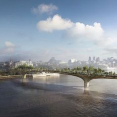 13 projects that could change the face of London: Thomas Heatherwick Studio's garden bridge over the River Thames. London Architecture, Amazing Architecture, Landscape Architecture, Architecture Design, Thomas Heatherwick, Rotterdam, Bridge Design, Pedestrian Bridge, Architecture Visualization