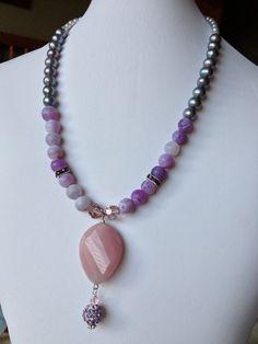 Blush Pink Agate and Crystal Pendant Purple by LittleGemsByLuisa, $40.00