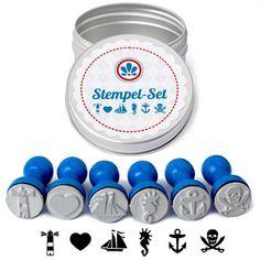 Maritimes 6er Stempel-Set in schöner Blechdose +++ Blau: Amazon.de: Küche &…