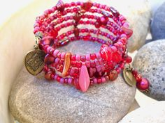Boho Style Ruby Red and Antique Brass Multi Wrap Memory Wire Bracelet by Beads4You2008 on Etsy https://www.etsy.com/listing/267724031/boho-style-ruby-red-and-antique-brass