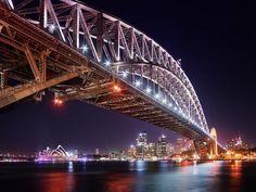 Sydney Harbour Bridge Night Lights Picture