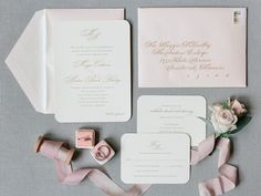Gorgeous wedding stationery with gold raised ink on ivory corner rounded stock, complimented with a blush soft shimmer envelope. Beautiful calligraphy in gold by Stationery by Poeme. Romantic Wedding Receptions, Wedding Day, Blush Wedding Stationery, Storybook Wedding, Beautiful Calligraphy, Response Cards, Dance The Night Away, Wedding Programs, Cool Bands