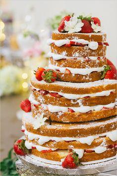 strawberry naked cake @weddingchicks