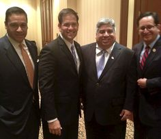 U.S. Senator Marco Rubio with Texas Reps. Aaron Pena, Larry Gonzales and Jason Villalba at the Hispanic Leadership Network event in Houston.