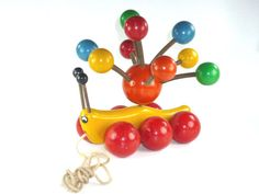 Vintage Kouvalias Caterpillar Wooden Pull Toy with by ChromaticWit, $24.99