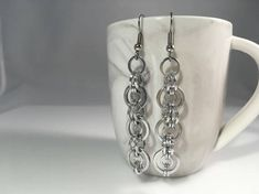 Silver Square Wire Long Bold Bulls-eye Chainmaille Earrings
