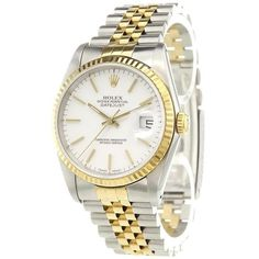Pre-owned Rolex 'Datejust' analog watch ($6,755) ❤ liked on Polyvore featuring jewelry, watches, stainless steel, stainless steel jewelry, pre owned vintage watches, rolex watches, vintage watches and automatic movement watches