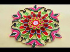 ☑️ Paper Quilling Designs How to make Colorful quilled Rangoli design - YouTube