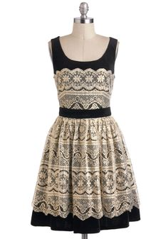 Every Gilded Moment Dress - Cream, Black, Lace, Party, French / Victorian, Sleeveless, A-line, Holiday Party, Mid-length, Exclusives