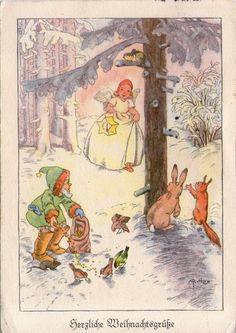 AK - WEIHNACHTEN - ENGEL - ZWERG - WALDTIERE - Gel. 1940 - M. Ritter-Karte 138 | eBay