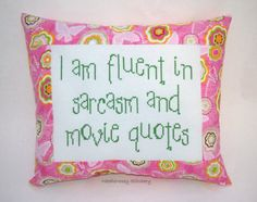 Funny Cross Stitch Pillow Pink and Green Pillow by NeedleNosey, $23.00