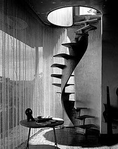 Staircase, House (Buhrich I), Edinburgh Rd, Castlecrag, May 1958 Architect: Hugh and Eva Buhrich Max Dupain Exhibition Negative Archive