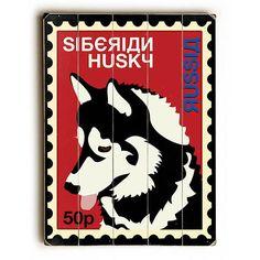 Siberian Husky Postage Stamp by Artist Ginger Oliphant Wood Sign