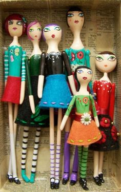 Primitive Folk Art doll with purple hair and embroidered felt skirt by carlasisters