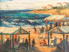 """""""Playa de Mar del Plata"""" Autor: Quinquela Martín #arte #art #painting"""