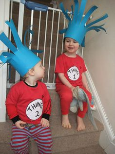 Thing 1 and Thing 2 outfits for World Book Day - Dr Seuss - World Book Day costumes - World Book Day dressing up Character Dress Up, Book Character Costumes, Character Ideas, Dr Seuss Costumes, Up Costumes, Costume Ideas, World Book Day Costumes, Book Week Costume, Dr Seuss Week