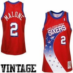 Mitchell   Ness Moses Malone Philadelphia 76ers 1993-94 Hardwood Classics  Throwback Authentic Home Jersey - Red c85a55b4c