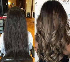 Dark hair Ecaille, shiny multidimensional tortoise shell colors, darker roots, lighter ends & face framing pieces