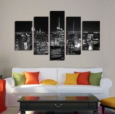 Large Wall Art NEW YORK Canvas Prints - Black and White New York City Skyline at Night