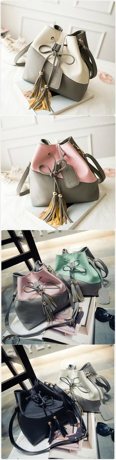 [$ 18.50] Women Bucket Color Matching Cute Draw String Shoulder Bags Crossbody Bags
