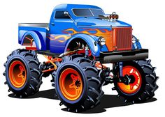 Illustration about Cartoon Monster Truck. Available separated by groups and layers with transparency effects for one-click repaint. Illustration of monster, muscle, custom - 49308817 Festa Monster Truck, Monster Truck Bed, Monster Truck Birthday, Truck Icon, Truck Art, Monster Energy, Cool Trucks, Big Trucks, Pickup Trucks