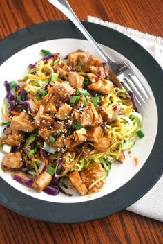Quick and Easy Chicken Thai Zoodle Skillet! So much easier than you think!!!