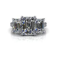 Charles & Colvard Forever Brilliant Moissanite and Diamond Engagement Ring Three Stone Emerald Cut 4.70 CTW