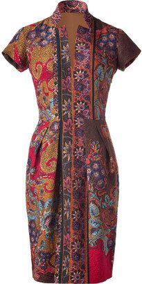 ShopStyle: Etro Mustard/Magenta Multi Color Floral Print Dress