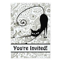 Black and White Cat and Garden Birthday Invitation