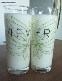 "Drink a toast to ""Forever"" with this splendid drinking glass set. Perfect Christmas gifts for boyfriend or husband. ""4ever"" Drinking Glasses. $24.00 via BoldLoft."
