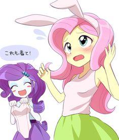 #1098661 - artist:ryuu, blushing, blush sticker, bunny ears, clothes, equestria girls, eyes closed, fluttershy, japanese, leotard, pixiv, rarity, safe, skirt, tanktop, translated in comments - Derpibooru - My Little Pony: Friendship is Magic Imageboard