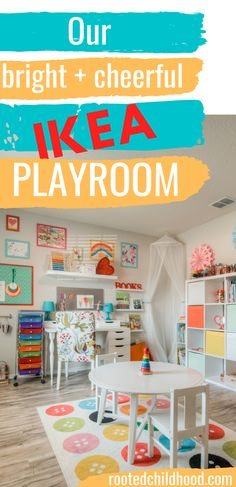 Our bright cheerful IKEA playroom - Rooted Childhood Playroom Shelves, Playroom Flooring, Ikea Playroom, Playroom Table, Small Playroom, Colorful Playroom, Toddler Playroom, Playroom Furniture, Playroom Organization